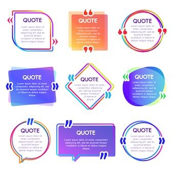 Cite o quadro de caixa. mencione os quadros de texto, observe a bolha do discurso e as frases citadas, conjunto de caixas de palavras