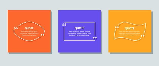 Cite quadros de caixa em fundos. citações de texto de modelo. ilustração em vetor cor.