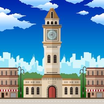 City clocktower com floresta e nuvens
