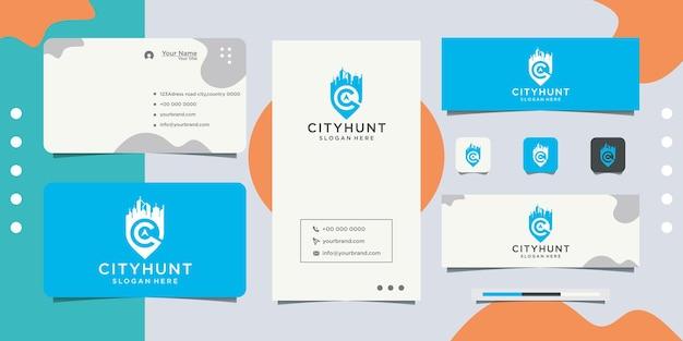 City dot design logo design de cartão de visita