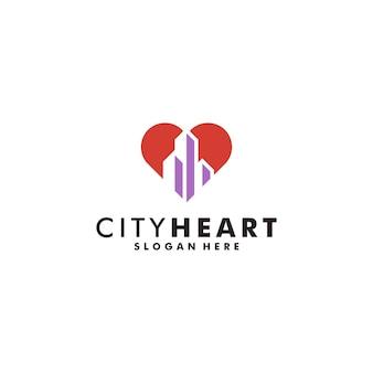 City heart logo design ícone imobiliário vetor logotipo