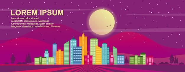 City life concept cityscape landmark modelo de ilustração horizontal