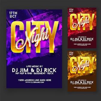 City night party flyer ou design de cartaz em três opções de cores purple, red e golden.