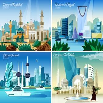 Cityscape árabe 4 ícones quadrados plana