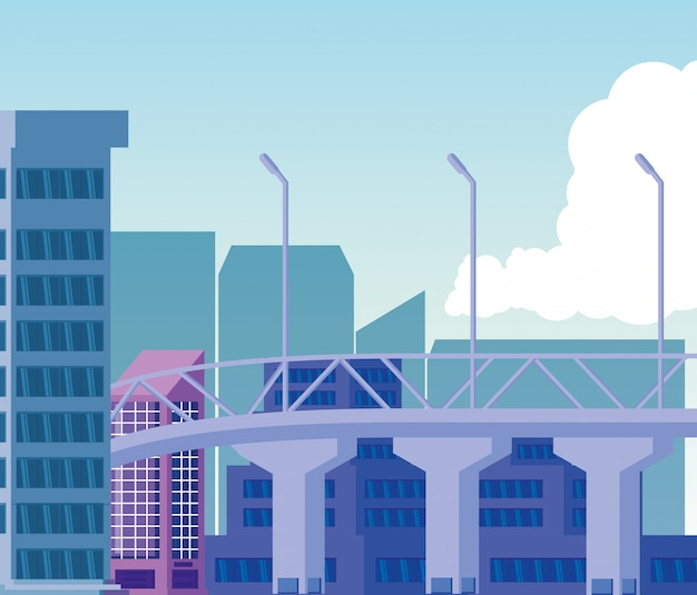 Cityscape edifícios cena dia com ponte