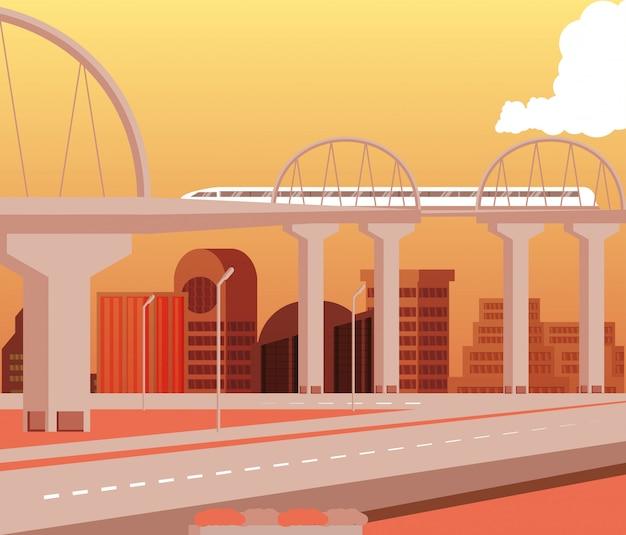 Cityscape edifícios dia cena com ponte e estradas