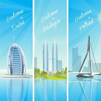 Cityscapes modern 3 conjunto de banners