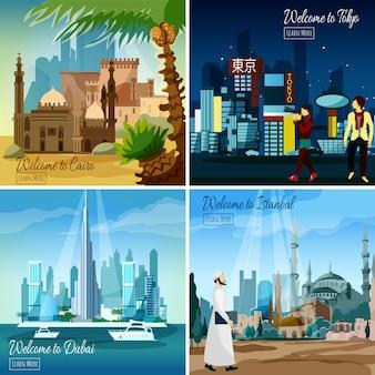 Cityscapes turísticos orientais