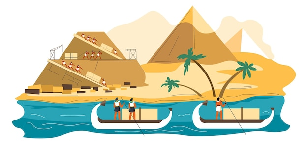 Civilização antiga, pessoas e escravos construindo pirâmides, construção de maravilhas do mundo. evento histórico, monumento à beira do rio nilo. imperadores flutuando em barcos e assistindo. vetor em estilo simples