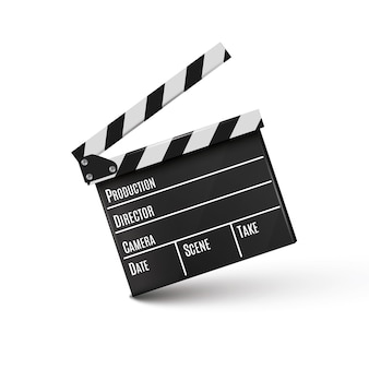 Clapper.cinema realista. placa em um background.film.time branco.