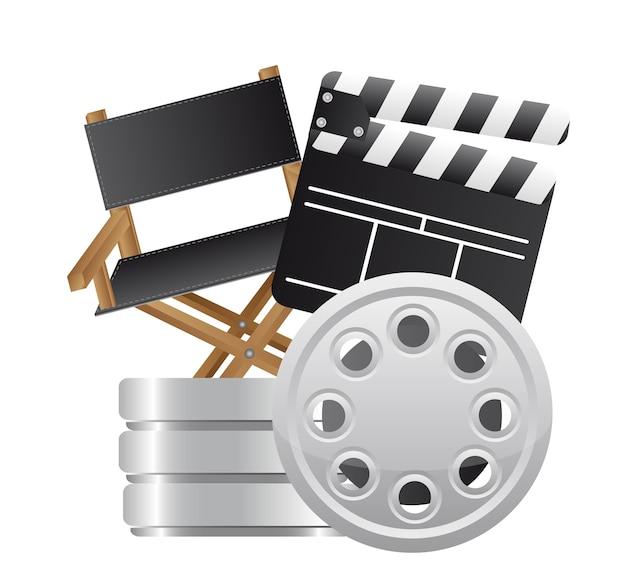Claquete com diretor cadeira e filme listra vector