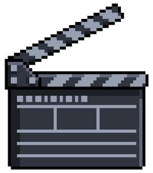 Claquete de filme de pixel art para jogo de bits