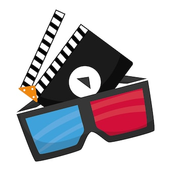 Claquete de óculos 3d de cinema