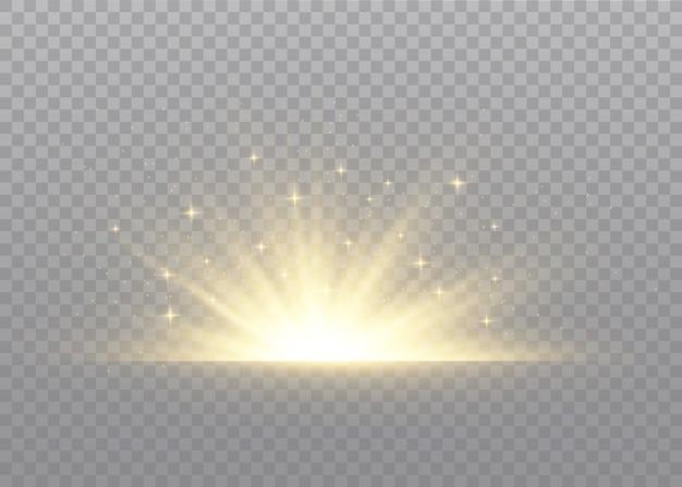 Clarão de luz com raios de luz. brilho de luz transparente.