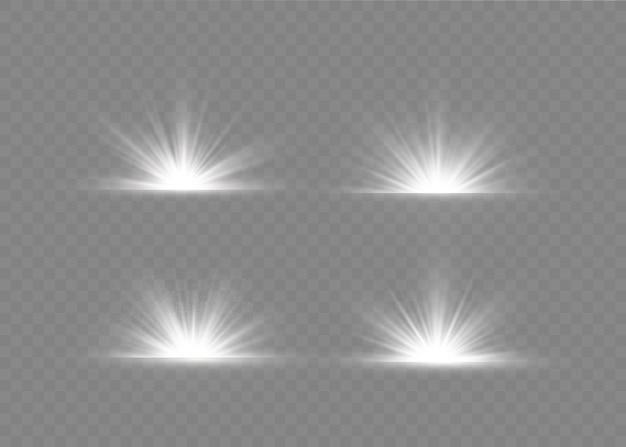 Clarão de luz com raios de luz. conjunto de luz transparente brilhante.