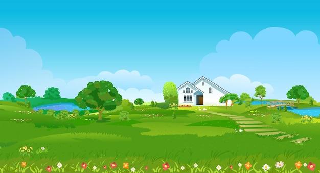 Clareira de verão com uma casa branca, lagos, árvores verdes e flores. paisagem do país de verão. ilustração