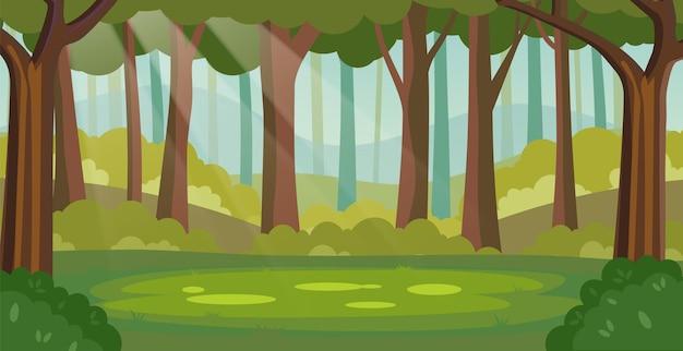 Clareira na floresta da selva mágica de verão com raios solares.
