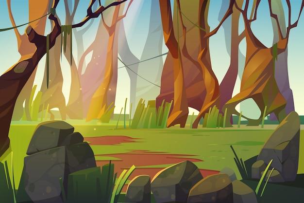 Clareira na floresta de primavera com grama verde