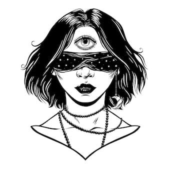 Clarividente. terceiro olho. ilustração vetorial