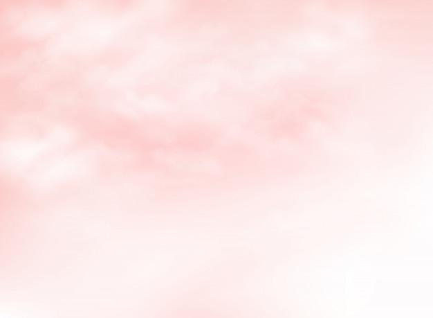 Claro céu cor-de-rosa coral vivo com nuvens de fundo