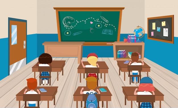 Claroom de educação com meninas e meninos estudantes com livros