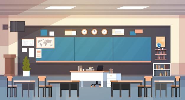 Classe de escola vazia interior de sala de aula com placa e mesas
