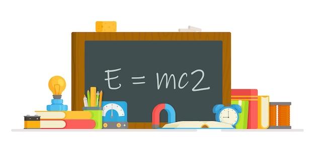 Classe de física. ilustração da realização de um experimento com instrumentos físicos. fórmula.