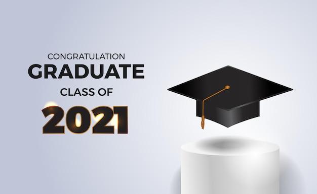 Classe de graduação de luxo de 2021 com chapéu de formatura no palco do cilindro do pódio