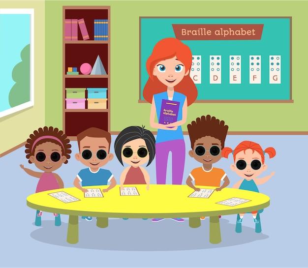 Classe especial de crianças cegas com óculos.
