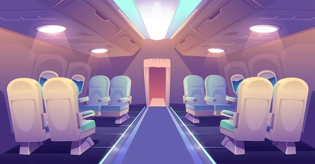 Classe executiva no interior vazio de avião jato particular