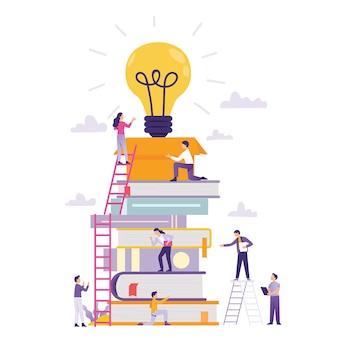 Classe online e trabalho em equipe negócio construindo nova ideia