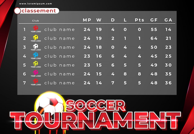 Classement of soccer tournament template design