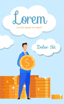 Classes de gestão financeira flyer plana, brochura
