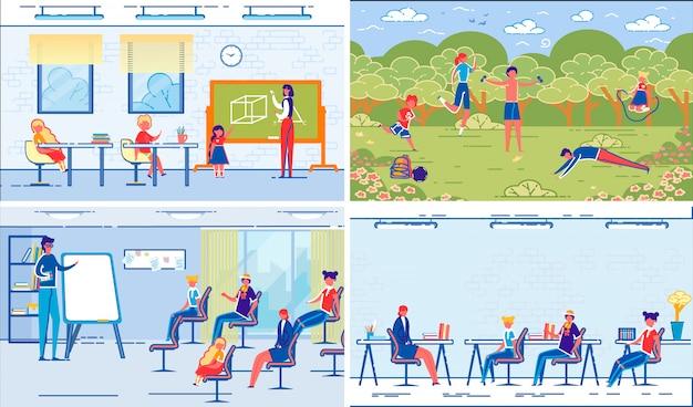 Classes e lições escolares com professores e alunos
