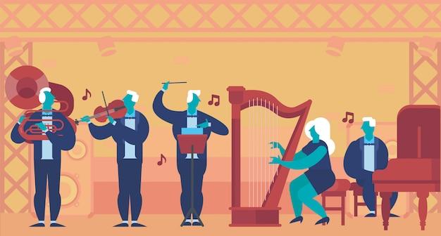 Classic band illustration flat vector