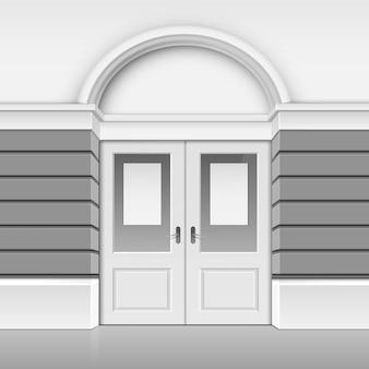 Classic shop museum boutique building store front com porta de vidro frontal fechada