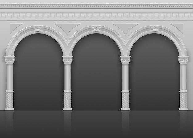 Clássico antigo interior romano com arcos de pedra e ilustração vetorial de colunas