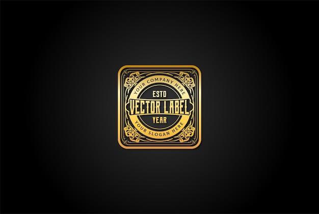 Clássico antigo retro vintage luxo fronteira dourada logo design vector