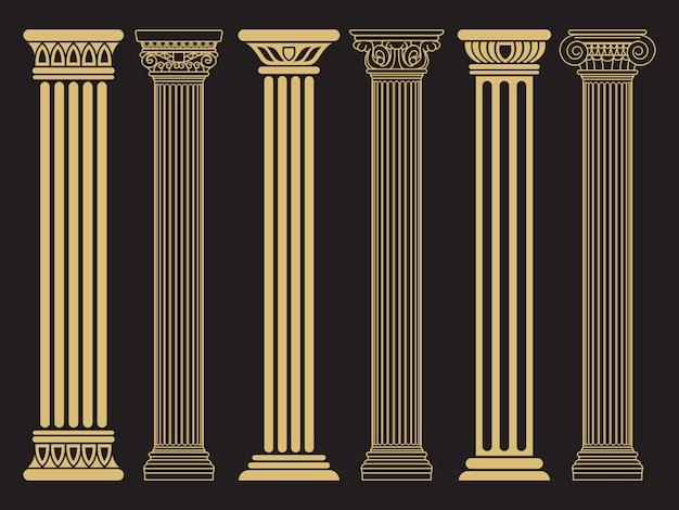 Clássico clássico romano, linha de arquitetura grega e colunas de silhueta