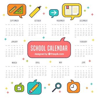 Clássico colorido da escola com ícones