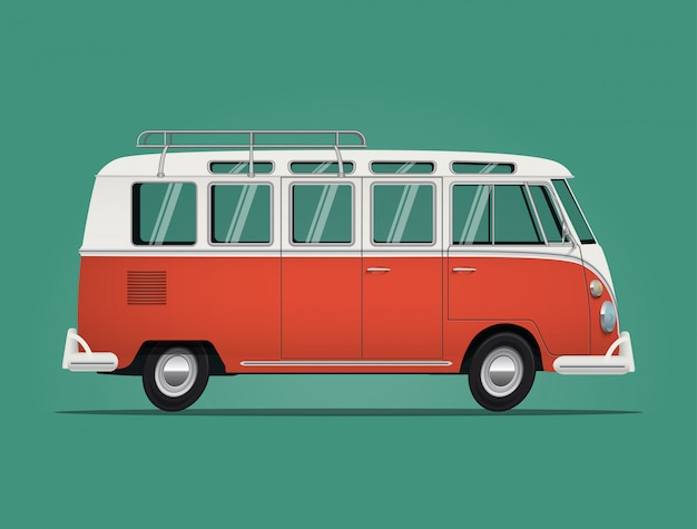 Clássico dos anos 60 vintage vermelho hippie van ônibus isolado sobre fundo verde