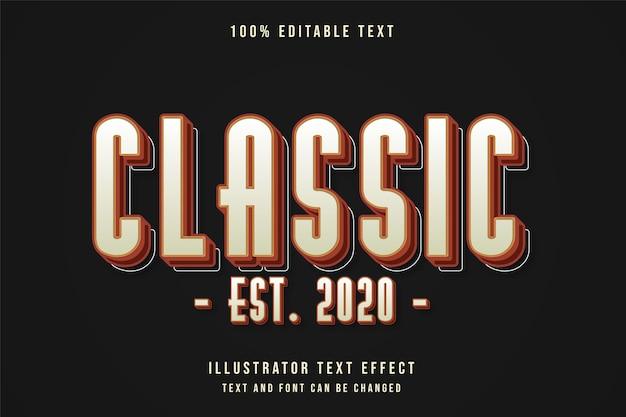 Clássico est. 2020,3d texto editável efeito de gradação de amarelo vermelho vintage sombra estilo de texto