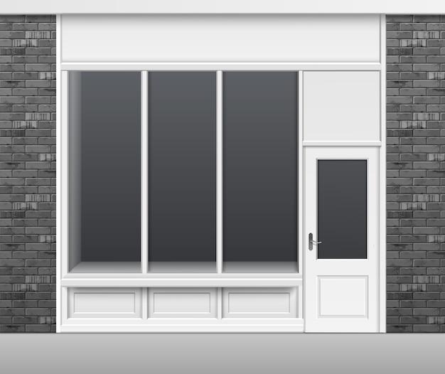 Clássico loja boutique edifício frente de loja com vitrine de janelas de vidro, porta fechada e lugar para nome isolado no fundo branco