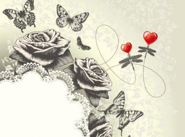 Clássico mão arte da pintura de borboleta rosas fundo