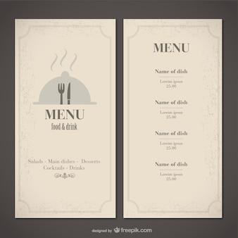 Clássico modelo de menu de comida