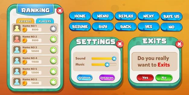 Classificação da interface do usuário do jogo casual cartoon kids, menu de configurações e saídas pop-up com botões de estrelas