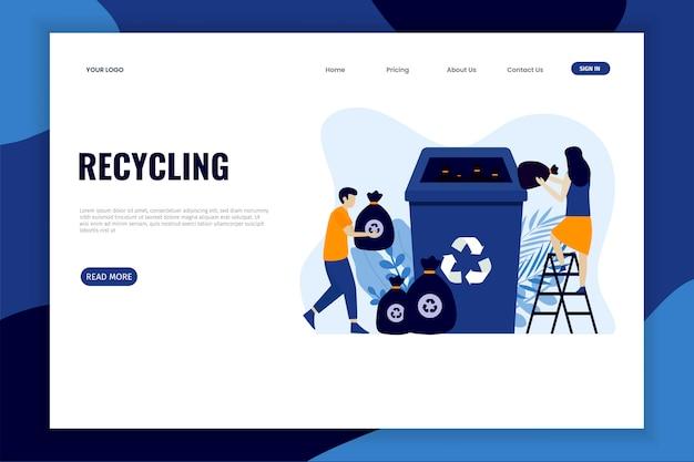 Classificação da lixeira para a página de destino da reciclagem