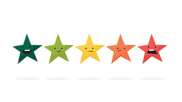 Classificação de 5 estrelas consecutivas. revisão e feedback. estrelas na fileira. sistema de classificação de produtos. ilustração