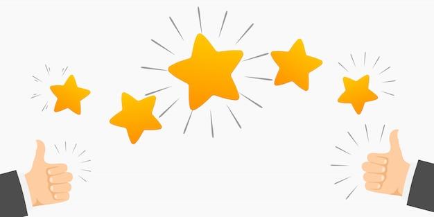 Classificação de cinco estrelas e polegares para cima