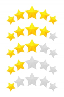 Classificação de cinco estrelas. níveis diferentes de uma a cinco estrelas. estrelas douradas em relevo e cinza transparentes.